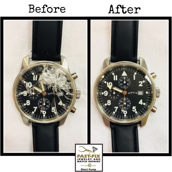Before and after image of a fixed Crystal replacement on a watch