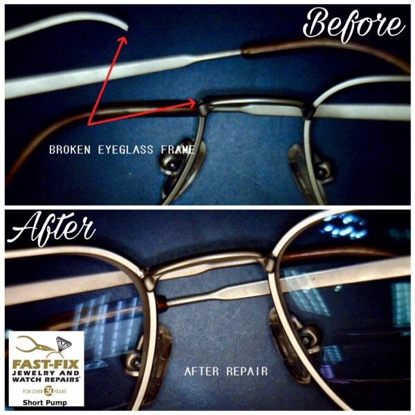 Before and after of an eyeglass frame repair using laser technology