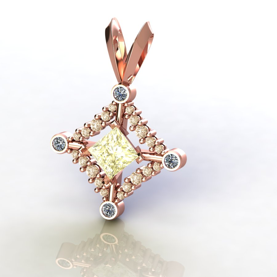Rose gold necklace pendant with yellow stone