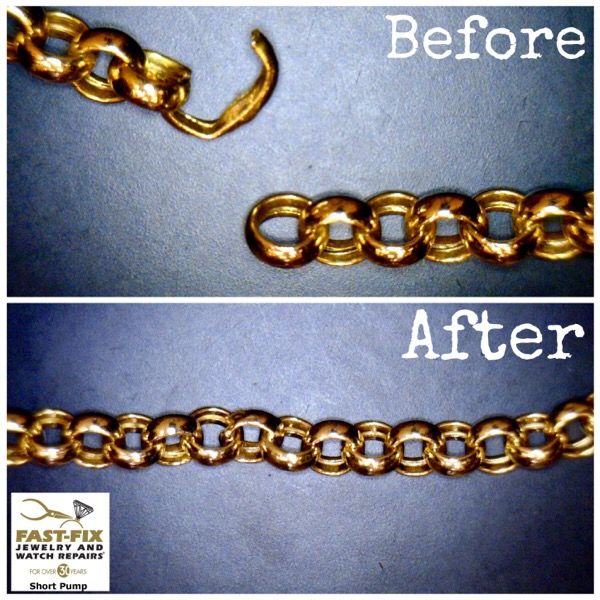 Before and after image of a Gold chain repair