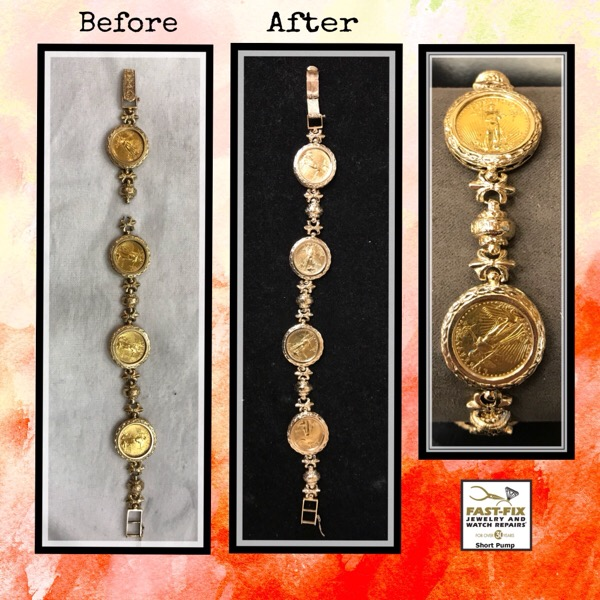 Before and after image of a gold coin bracelet repair
