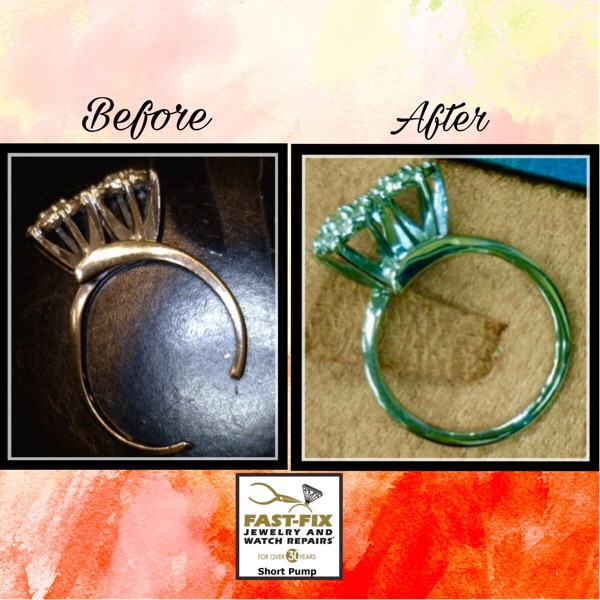 Before and after image of a ring polish