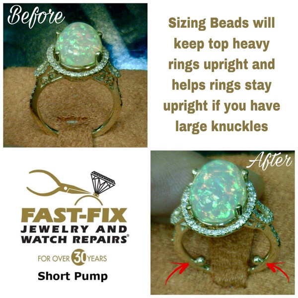 A ring with sizing beads added to help it fit