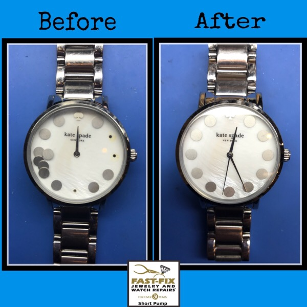 Before and after image of a fixed Reset dial markers on a watch
