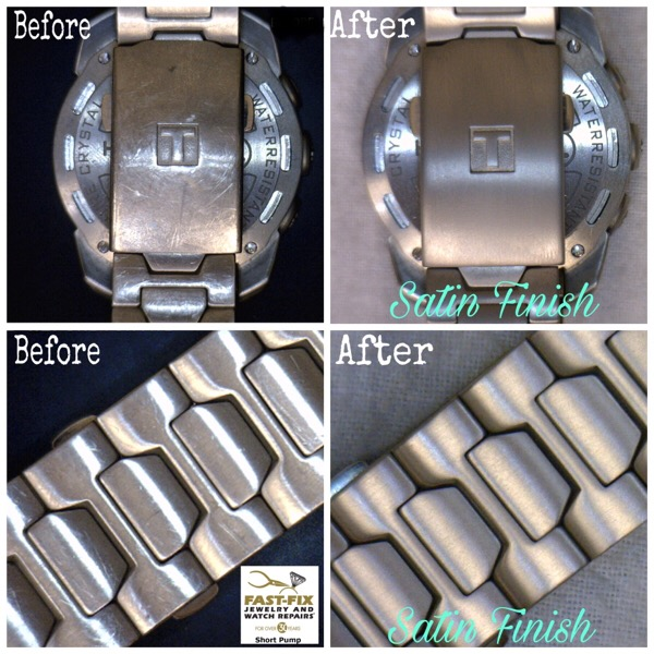 Before and after image of a watch band repair
