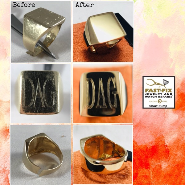 Before and after of a Shank repair, refurbishing, and engraving on a ring