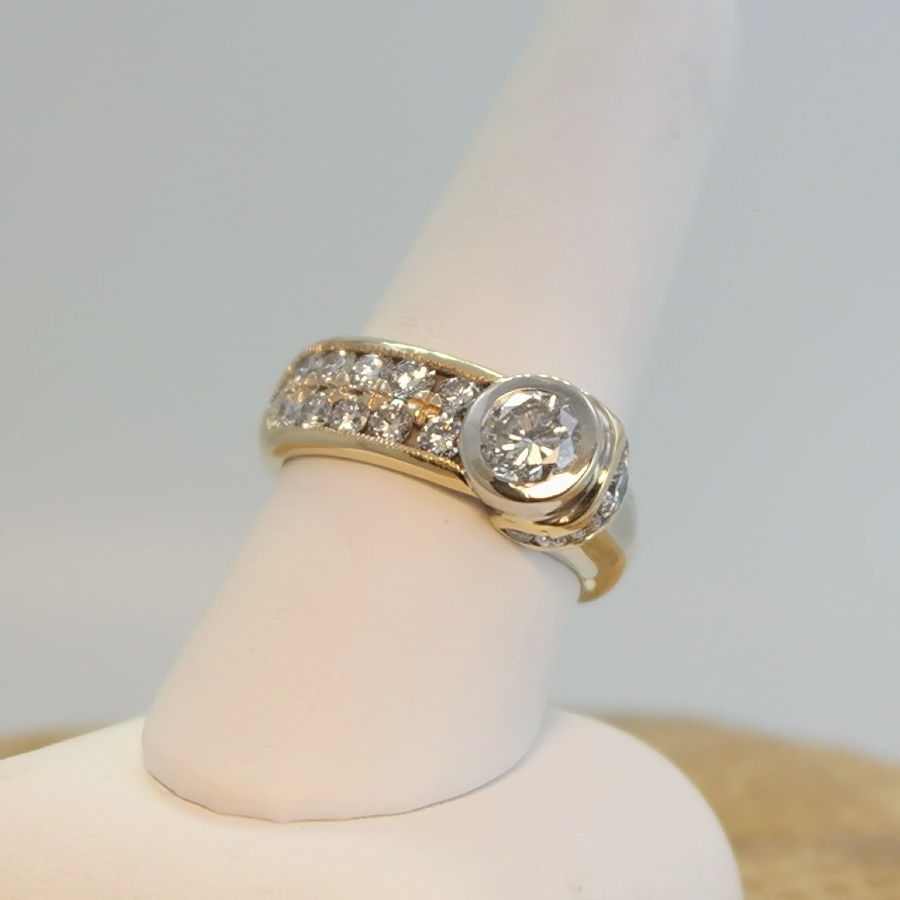 Gold ring with large diamond