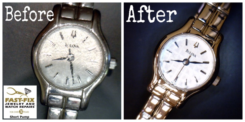 Before and after image of a Watch case and band refurbish and crystal replacement