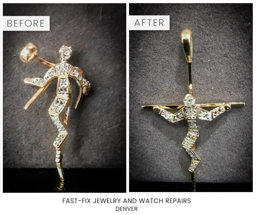 before and after of a broken necklace that has been fixed