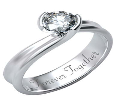 Engagement ring with round diamond, engraved with Forever Together sentence