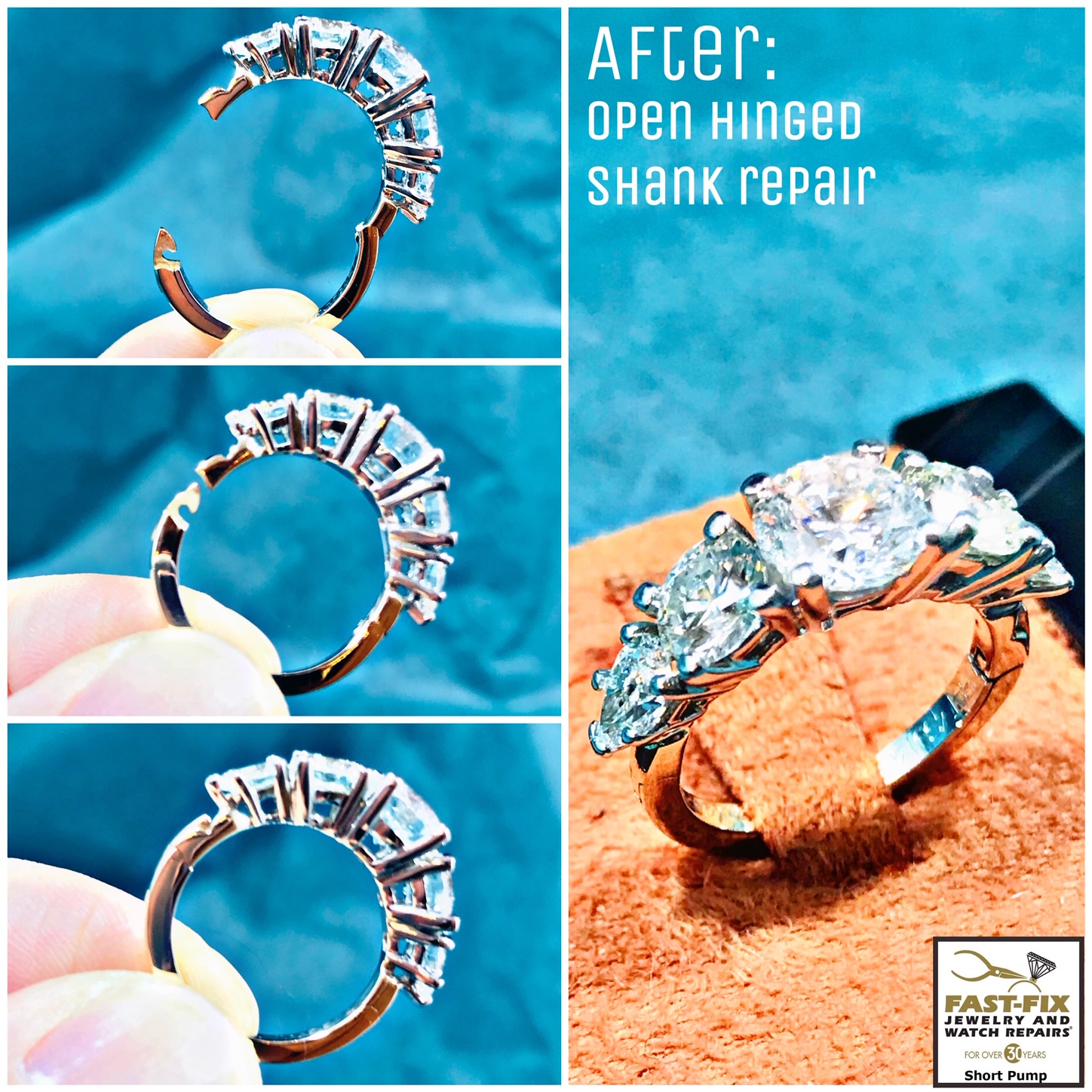 We repair this diamond ring with a open hinged shank for large knuckles