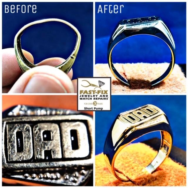 We repaired this Dad's ring which was badly bent out of shape