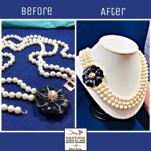 We can restring pearls and beads