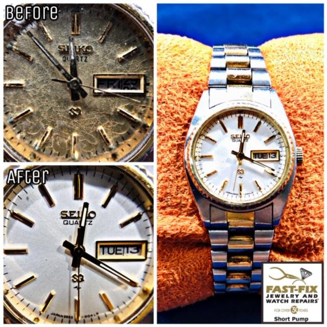 We restored this Seiko watch by refinishing the worn, discolored dial.