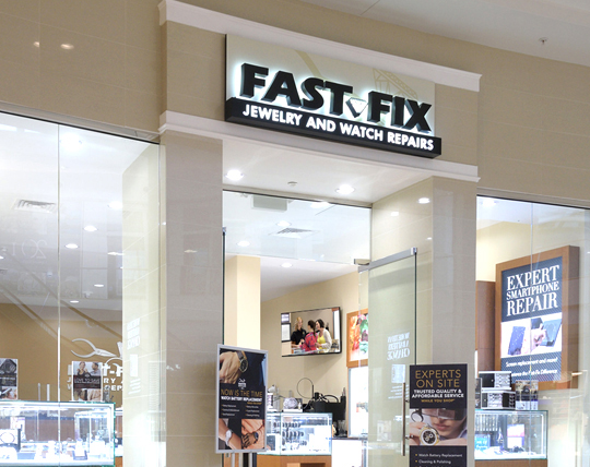 Front of a Fast Fix franchise location in a mall