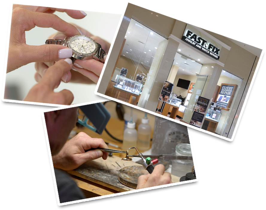 Woman looking at a watch, a Fast Fix store location, and a welder fixing a piece of jewelry
