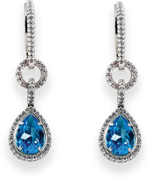 Pretty diamond earrings with a blue stone in the middle