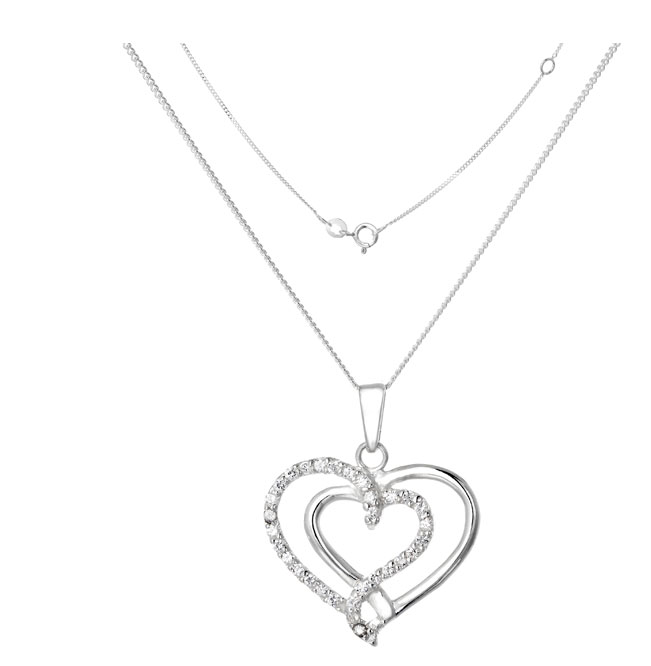 Silver necklace with silver heart pendant that has a diamond on the pendant