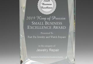Clear rectangular award depicting Fast Fix Jewelry and Watch Repairs King of Prussia as the 2019 Small Business Excellence Award Winner in the Jewelry Repair Category